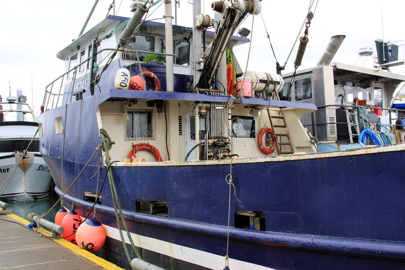 On Board a commercial fishing boat in Alaska royalty free stock photo