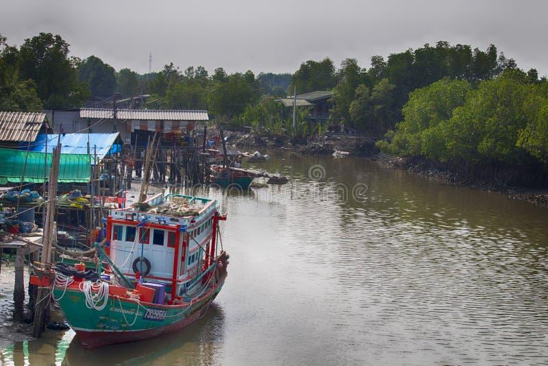 Fishing boat at Don Hoi Lam, Thailand stock photos