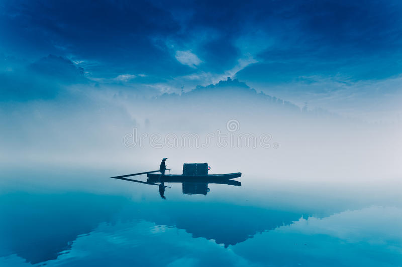 Fishing-boat in fairyland royalty free stock photography