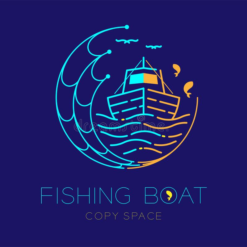 Fishing boat, fish, seagull, wave and Fishing net circle shape logo icon outline stroke set dash line design illustration. Isolated on dark blue background and stock illustration