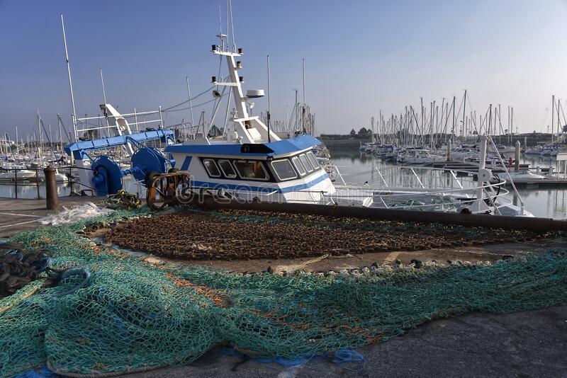 Port of Saint-Vaast-la-Hougue in France stock images