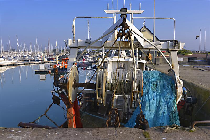 Port of Saint-Vaast-la-Hougue in France stock photos
