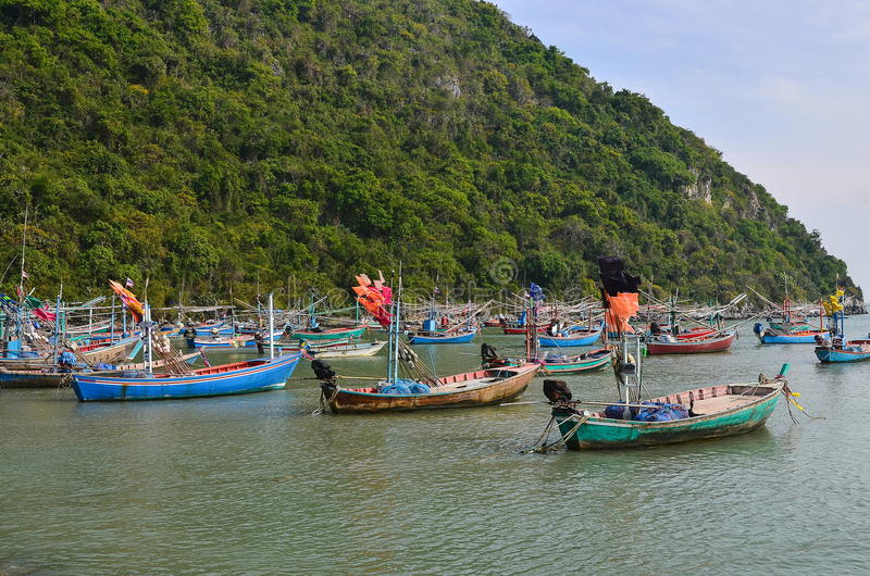 Fishing Boat in Fishing Village of Thailand royalty free stock images