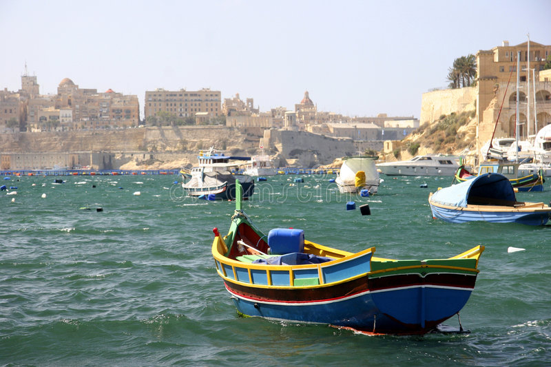 Download A Fishing Boat In Grand Harbour, Malta Stock Image - Image: 4721355
