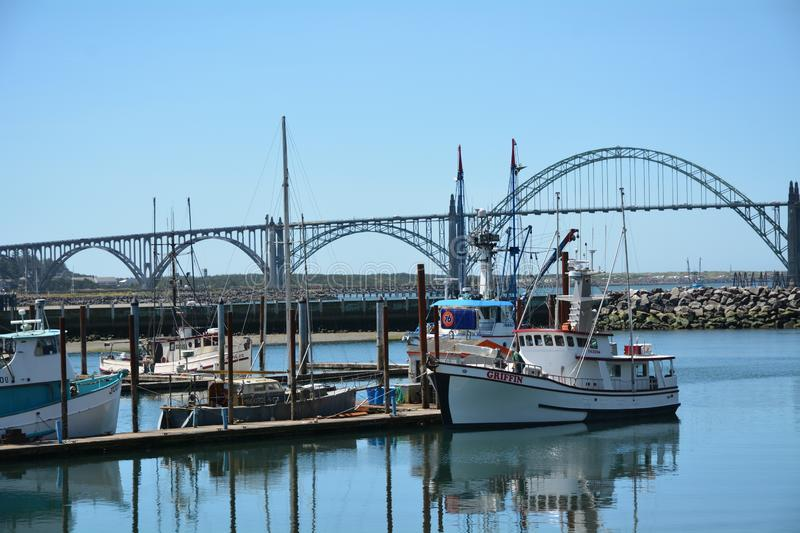 Fishing Boat Griffin tied up in Newport, Oregon. This is the fishing boat Griffin tied up at the dock in Newport, Oregon`s Yaquina Bay royalty free stock photo