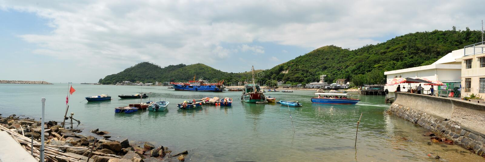 Fishing Boats In Tai O Fishing Village Hong Kong stock image