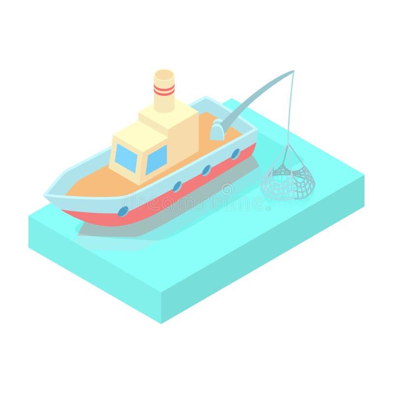 Fishing boat icon, cartoon style stock illustration