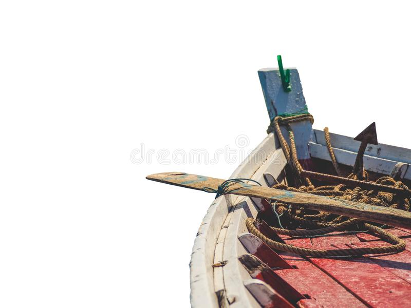 Fishing boat isolated. On white background, space for text stock image