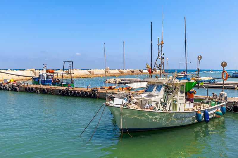 Fishing boat in Jaffa. stock images