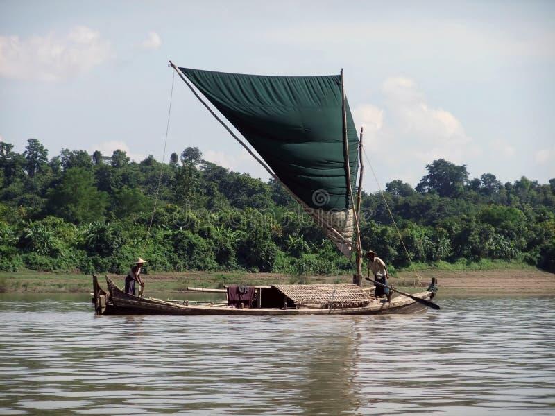 Fishing boat on Kaladan River stock photos