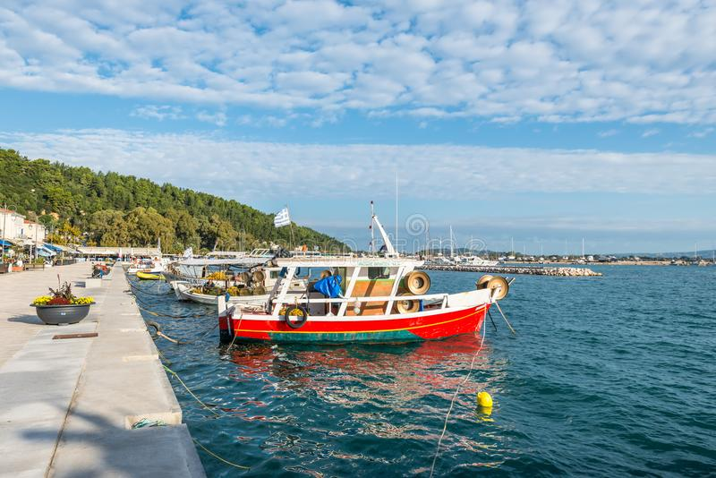 Fishing boat in Katakolon, Greece stock image