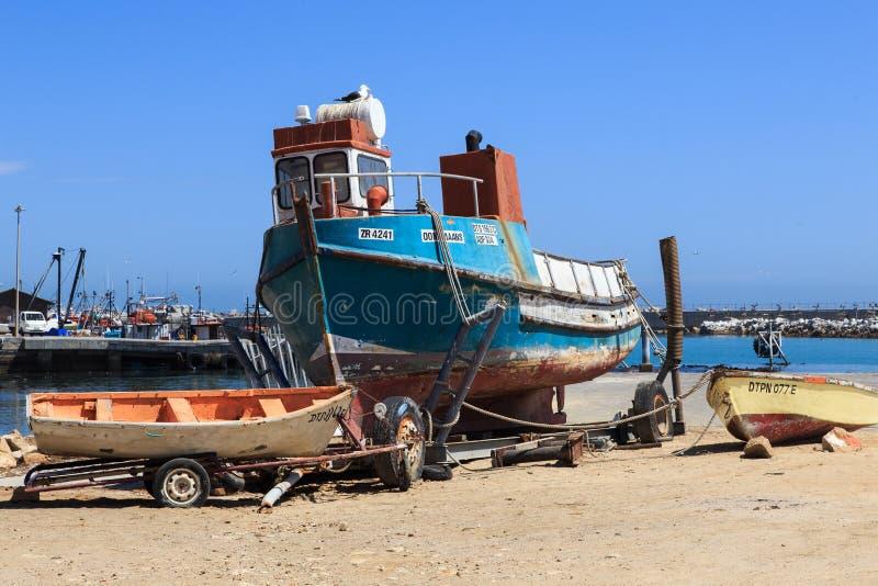 Fishing boat at Lamberts Bay stock images