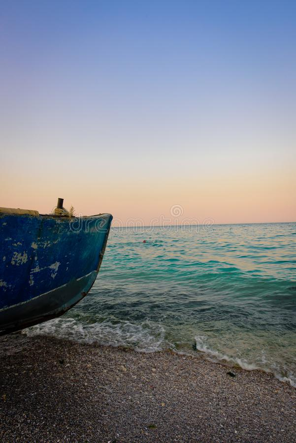 Fishing boat on the sea side stock photos