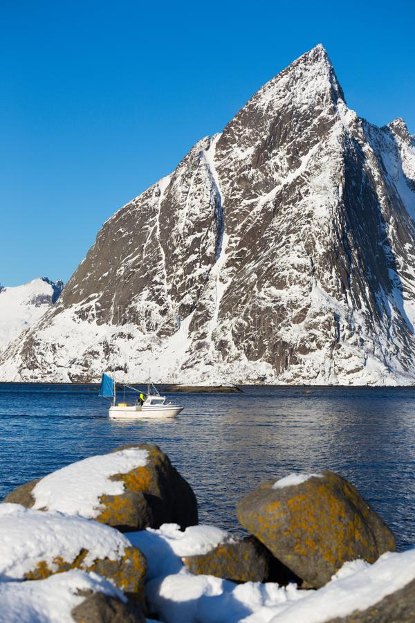 Fishing boat at the Lofoten Islands stock photo