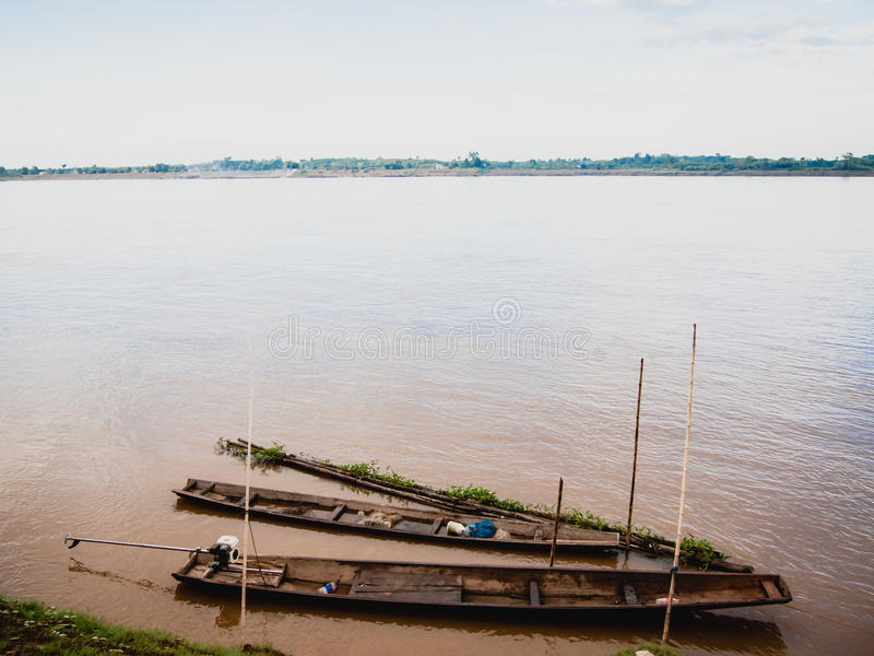 Fishing boat in Maekhong river, Lao. royalty free stock image