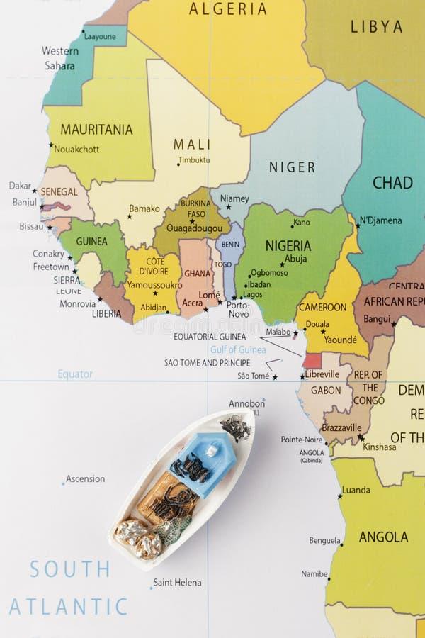 Fishing boat on map stock photo Image of border congo 83145254
