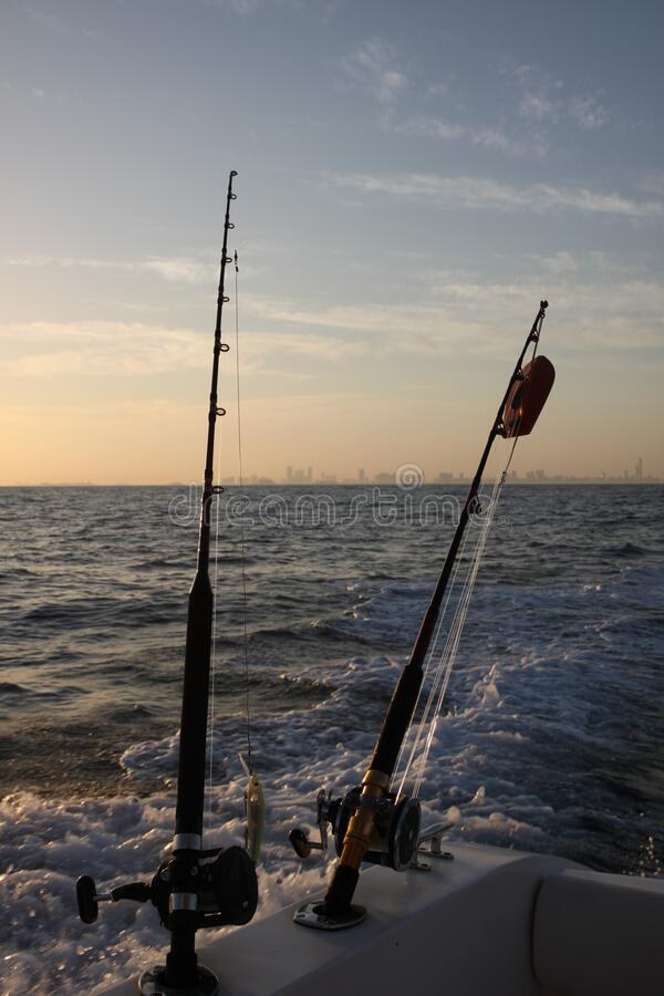 Fishing on the boat in the morning in uae royalty free stock photography