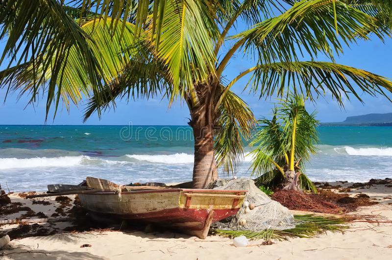 Fishing boat with networks on the Caribbean sea Dominican Republic royalty free stock photos