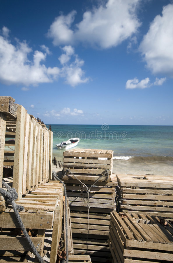 Download Fishing Boat Panga Lobster Traps Nicaragua Stock Photo - Image: 9246264