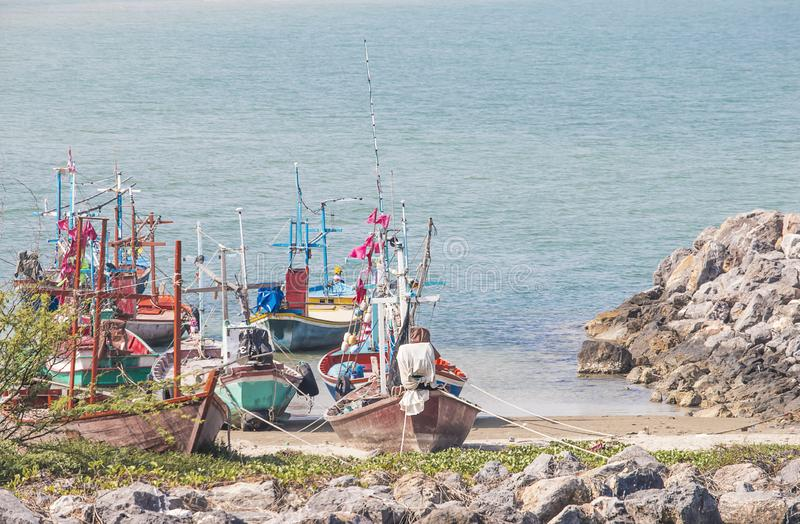 Fishing boat parked on the beach royalty free stock photo