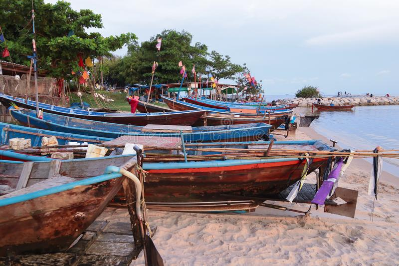 The fishing boat parked on the beach royalty free stock photography