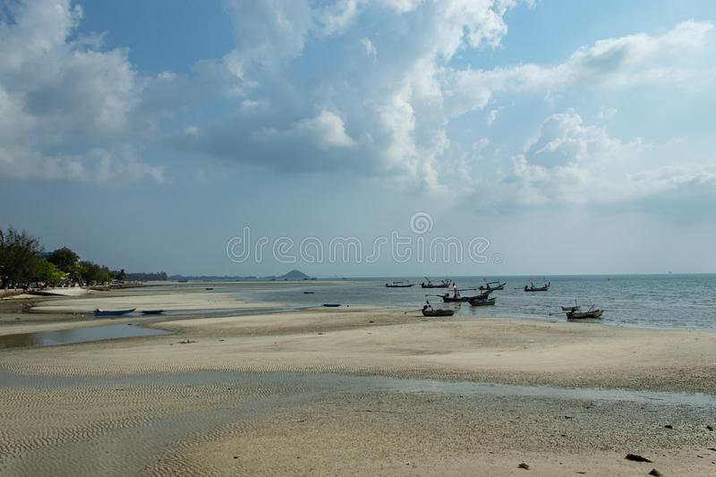 Fishing boat parked on koh samui beach. Surarthani royalty free stock photo