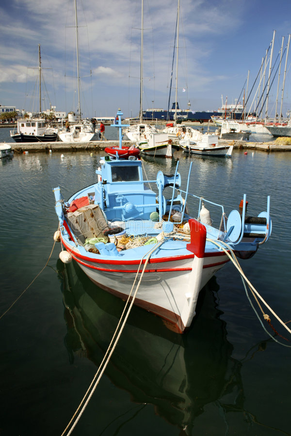 Fishing boat - Paros, Greece stock images
