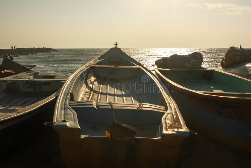 Fishing boat ready to go out at early morning. In southern part of India royalty free stock photos