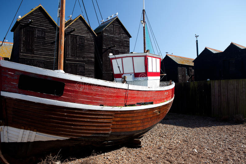 Download Fishing Boat Red Ship Moored In Hastings Uk Stock Photo - Image: 21665354