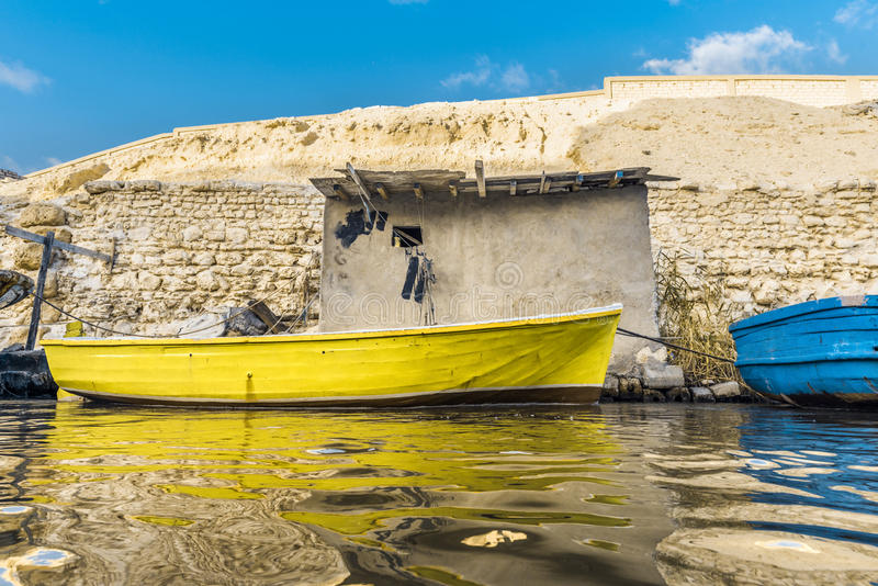 Fishing Boat in River Water royalty free stock images