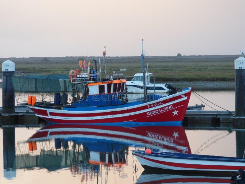Fishing boat Santa Luzia Portugal stock photos
