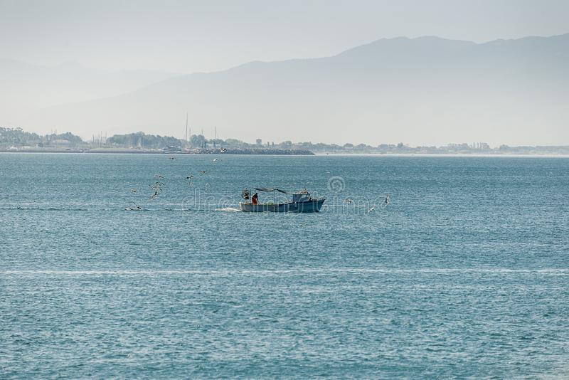 Fishing boat in the sea. The Fishing boat in the sea stock images