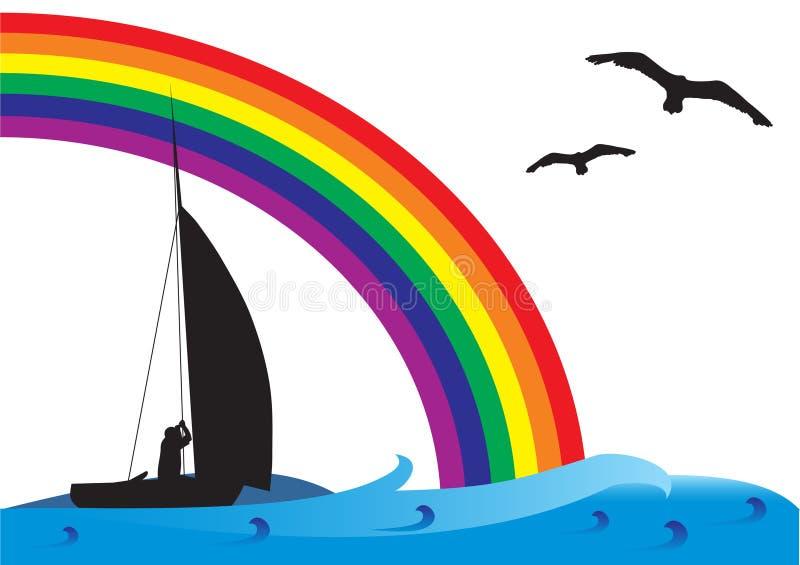 Fishing boat on the sea royalty free illustration
