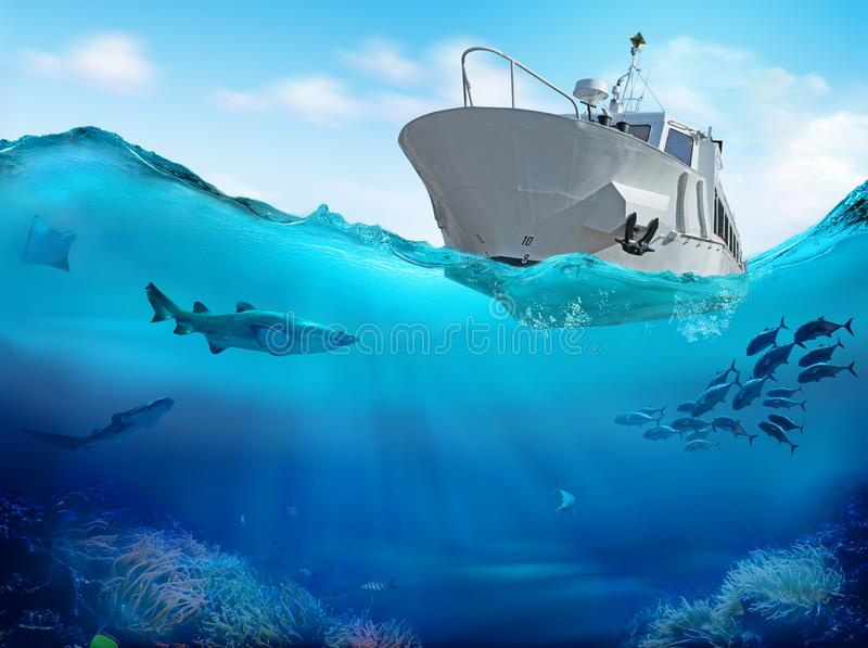 Fishing boat in the sea. 3D illustration. Fishing boat and sea underwater with marine animals. 3D illustration vector illustration
