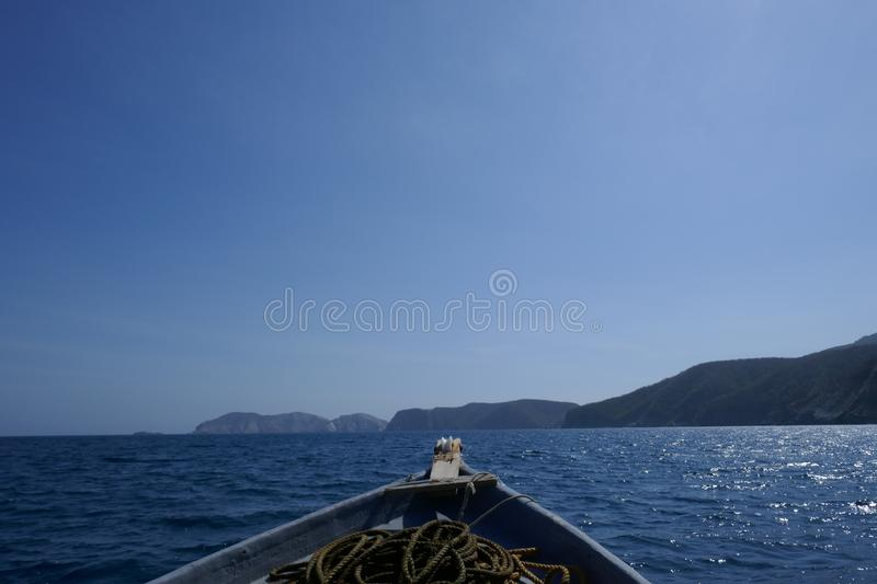 Fishing boat in the sea stock images