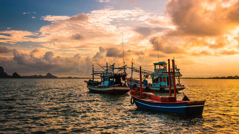 Fishing boat in the sea . Sea evening time background .Fishing boat of Thailand royalty free stock photo
