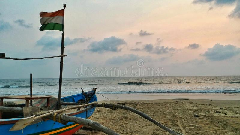 Indian Fishing Boat at seashore stock images