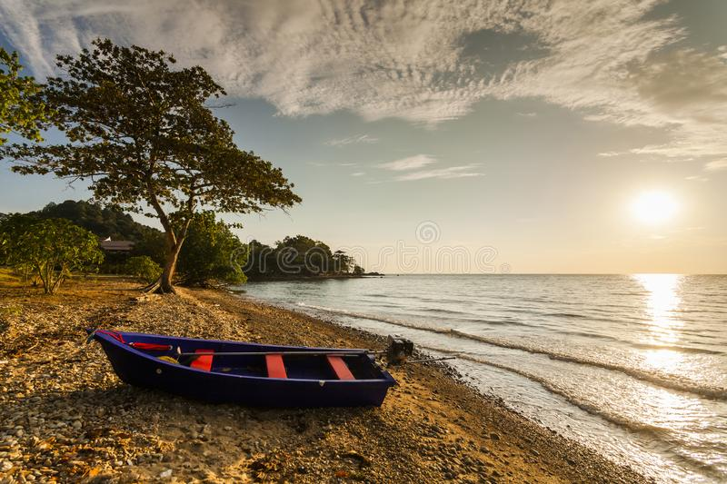 Fishing boat on the shore of a tropical island. Koh Chang. Thail stock photography