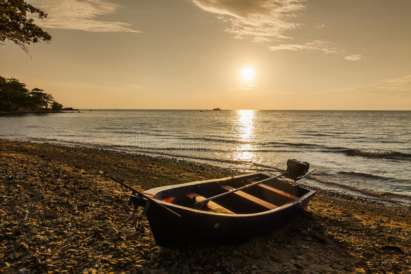 Fishing boat on the shore of a tropical island. Koh Chang. royalty free stock photos