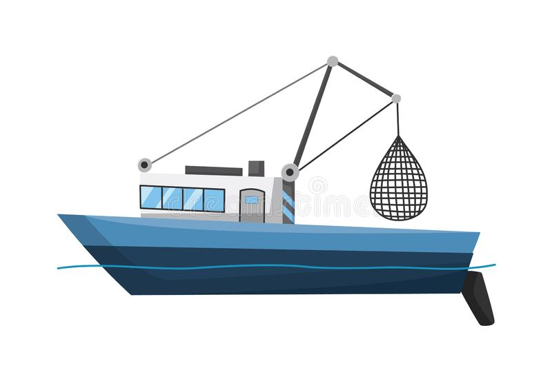 Fishing boat side view. Commercial fishing trawler for industrial seafood production. Marine ship, sea or ocean. Transportation. Vector illustration royalty free illustration