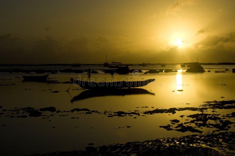 Fishing boat sunrise royalty free stock images