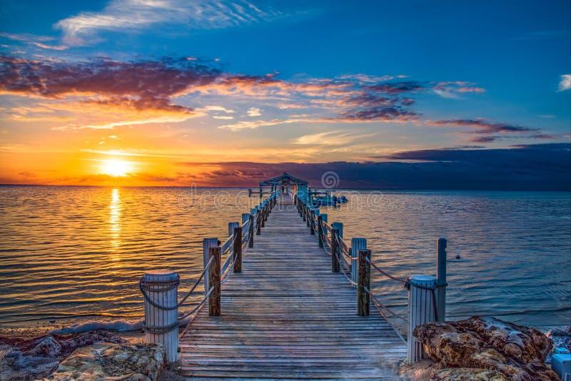 Florida Keys Islamorada Fishing Boat Sunrise stock photography