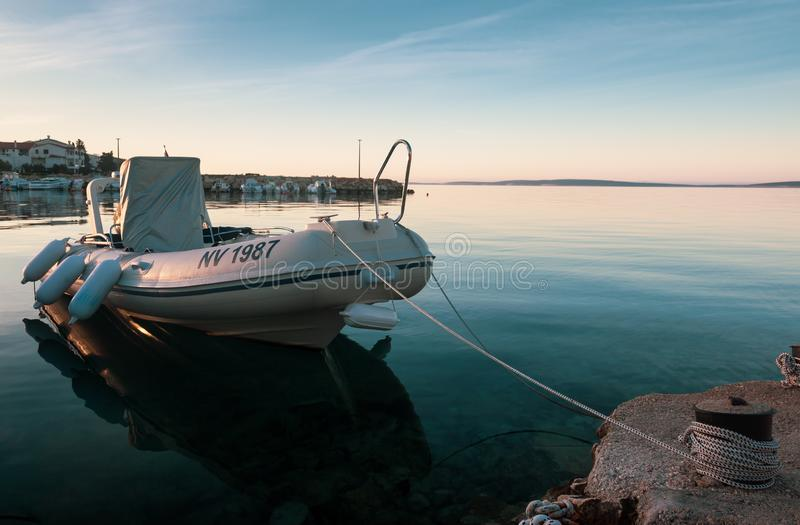 Fishing Boat in Sunrise Dock in Croatia royalty free stock photography