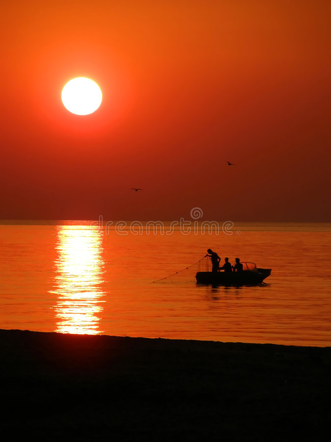 Download Fishing boat at sunset stock image. Image of industry - 6331921