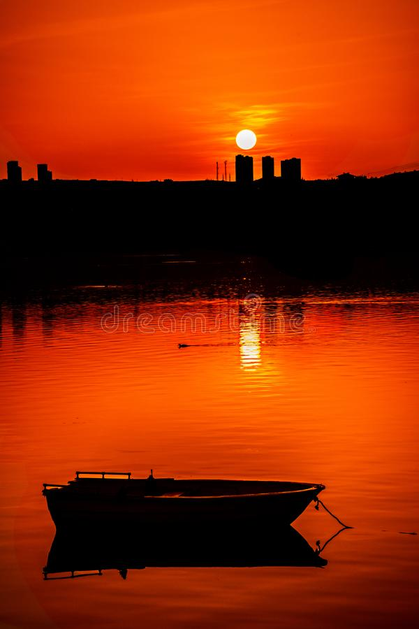 Fishing Boat and Sunset in Ankara Turkey stock photo