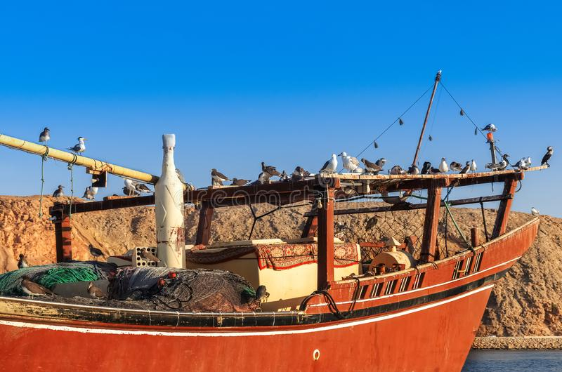 Fishing boat in Sur Oman royalty free stock photos