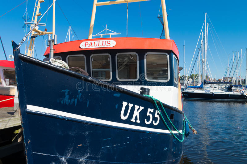 Fishing boat. Fishing trawler with Urker registration number. Urk has by far the largest fishing fleet and fish processing industry in the Netherlands stock photo