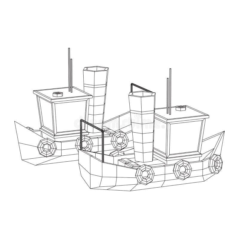 Fishing boat. Wireframe fishing trawler. Fishing boat. Commercial fishing trawler for industrial seafood production. Vintage marine ship, sea or ocean vector illustration