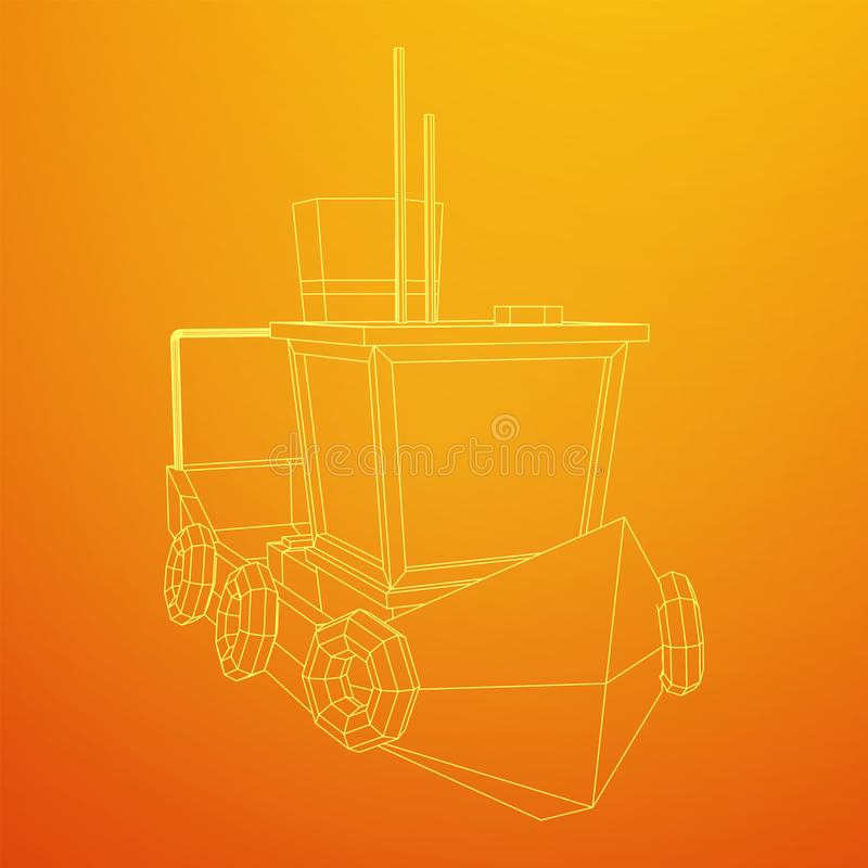 Fishing boat. Wireframe fishing trawler. Fishing boat. Commercial fishing trawler for industrial seafood production. Vintage marine ship, sea or ocean royalty free illustration