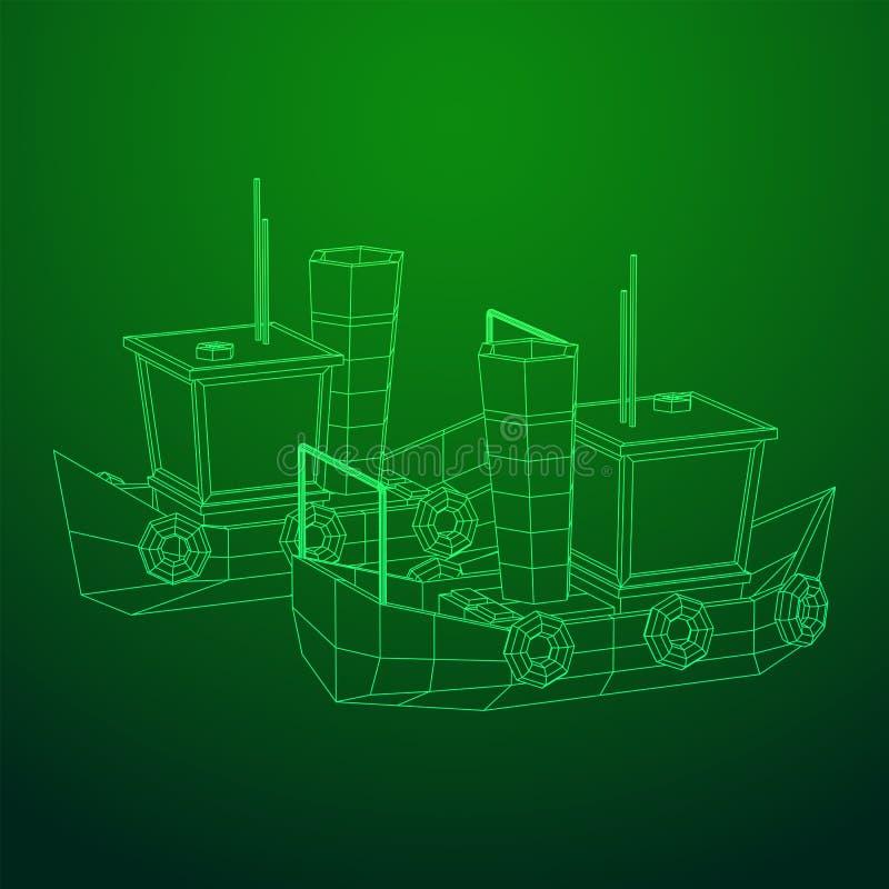 Fishing boat. Wireframe fishing trawler. Fishing boat. Commercial fishing trawler for industrial seafood production. Vintage marine ship, sea or ocean stock illustration
